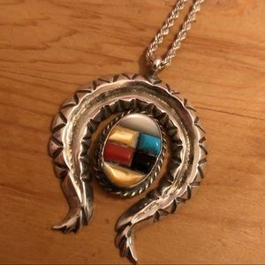 Native American Old Pawn Inlay Necklace Pendant